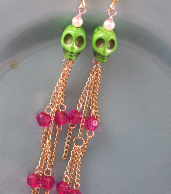 Zombie Green Sugar Skull Earrings with Gold Dangles