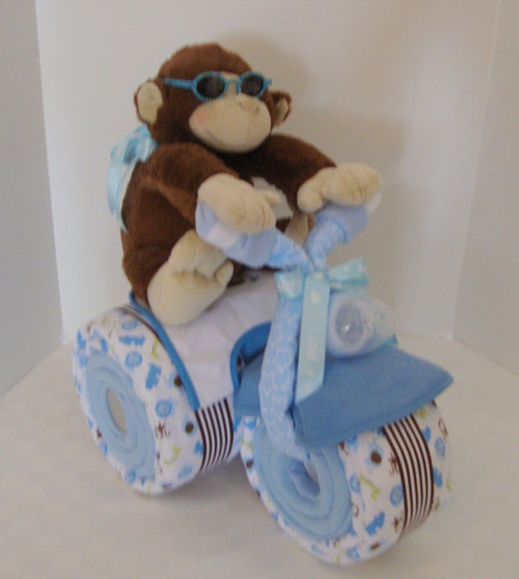 Diaper Caketricycle Trike Baby Shower Gift Jungle Monkey