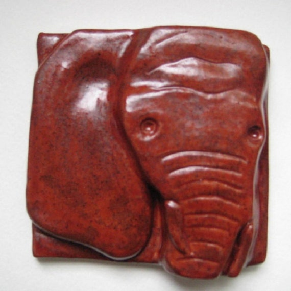 Reserved: Red Elephant Tile 4x4