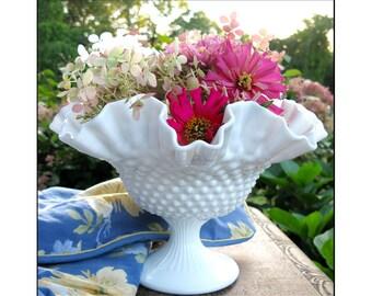 Large Fenton Hobnail Bowl / Milk Glass Centerpiece / Wedding Milk Glass