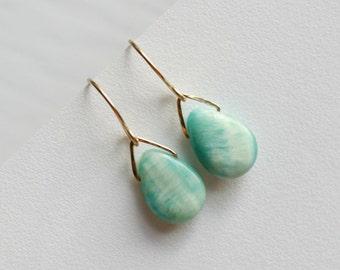 Hemimorphite Earrings, Blue Teardrop Earrings