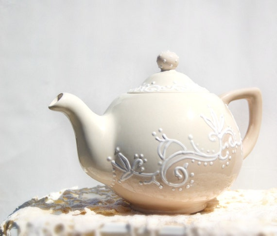 Cream and Mocha lace teapot  hand painted