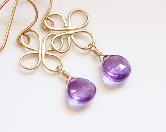 Purple Amethyst Earrings, 14k Gold Filled, Clover Earrings, Hammered, February Birthstone, Semiprecious Gemstone - Luck of the Irish