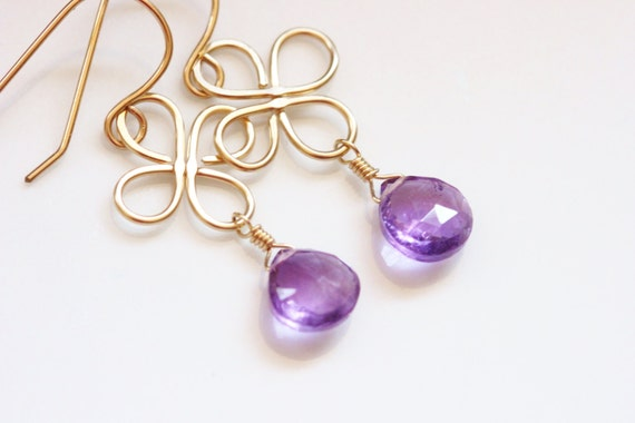 Purple Amethyst Earrings, 14k Gold Filled, Clover Earrings, Hammered, February Birthstone, Semiprecious Gemstone - Luck of the Irish