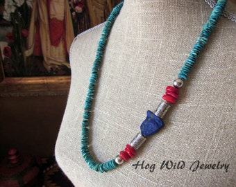 Turquoise Lapis Nugget Bamboo Coral Silver Necklace