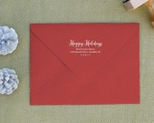 Holiday Address Rubber Stamp with script holiday message Self Inking also available