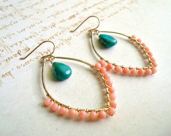Peach Coral Turquoise Earrings, Boho Hoops, Turquoise Peach Hoop Earrings, Wire Wrapped, Marquise Hoops, Peach Aqua Earrings