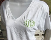 Monogrammed VNeck TShirt for Ladies Women Plus Size Available Personalize with Name or Initials Monogram Bridesmaid