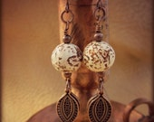 RUSTIC STONE EARRINGS - Agate Earrings - Antique Copper Earrings - Filigree Charms Dangle Earrings  - Earthy Tribal Earrings
