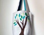 Linen Green Tree Bag