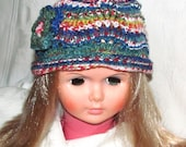 Pretty Variegated Green, Blue, Yellow Child's Hat, Blue Hat With Flower