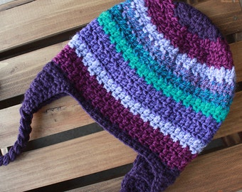 Multi Color Purple Striped Crochet Beanie with Earflaps and Braids