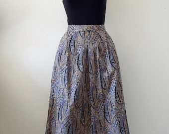 1970s Pleated A-Line Skirt / Cotton Paisley Print / vintage spring fashion