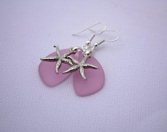 Pink Sea Glass Earrings, Star Fish Starfish Earrings Seaglass Earrings Starfish Jewelry Sea Glass Jewelry Beach Jewelry Seaglass Jewelry 069