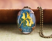 Oval New Zealand Stamp Necklace - Kowhai