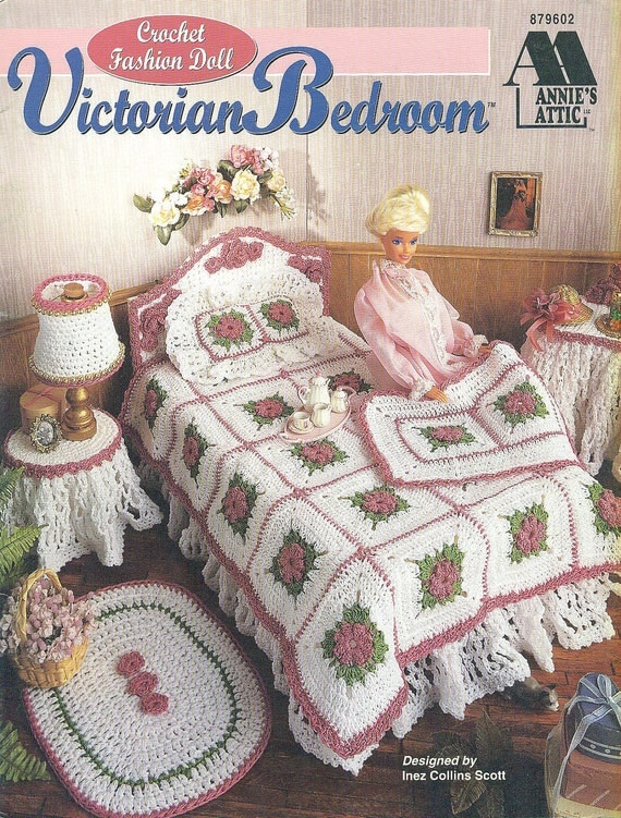 Annies Attic CROCHET VICTORIAN BEDROOM Pattern - Fashion Doll Barbie ...