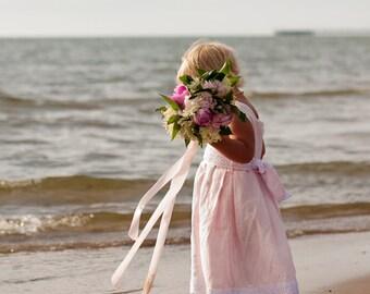 Blush pink flower girl dress - Beach wedding girl dress - Pink baby girl dress - Christening girl dress - linen girl outfit