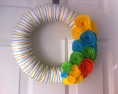 Yarn Wreath with Beautiful Colorful Felt Roses-Door Decoration-10 IN WREATH-Ready to Ship