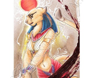 Sekhmet Ancient Egyptian Sun Goddess Lioness Painting Art Card Print