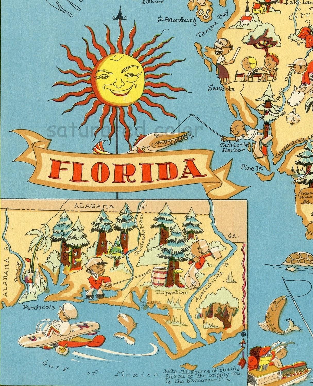 Florida Map ORIGINAL  X  Vintage S Antique Picture Map - Florida map destin area