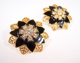 Vintage Rhinestone Flower Earrings in Black and Gold 1992 Avon New in Box