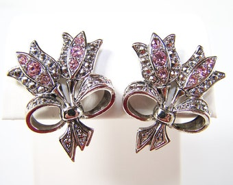 Vintage Avon Rhinestone Earrings with Silver and Pink Tulips and Bows in Excellent Condition 1970s 1980s Signed by AVON