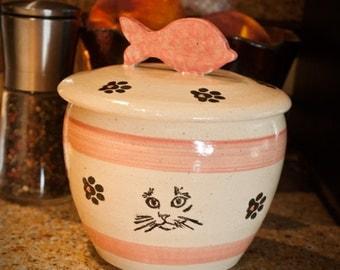 Cat Angel Face in Pink - Kitty Treat Jar (Medium)