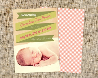 Ribbon Banner Baby Announcement Design