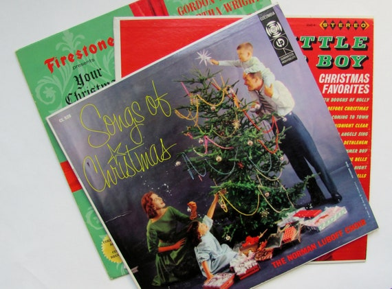 Vintage Christmas Records Albums 1960s Holiday Decor