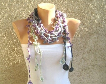 Crochet  Flower Scarf Lariat, Purple Gray Green Set Necklace, Bohemian Beach Scarflette, Women Fashion Accessories, Trendy Lightweight Scarf