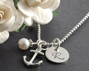 Anchor necklace, initial jewelry, pearl, personalized initial, anchor initial pearl, friendship, BFF, sterling silver anchor charm