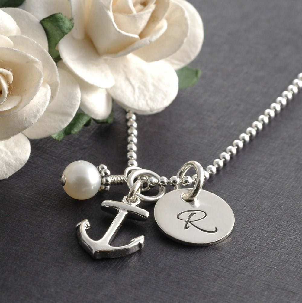 Initial Charms For Bracelets: Anchor Necklace Initial Jewelry Pearl Personalized Initial