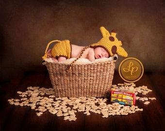Newborn Giraffe  Hat and Diaper Cover, Newborn Photo Prop, Crochet Giraffe Hat, Baby Giraffe Hat and Diaper, Newborn Hat, Baby Hat