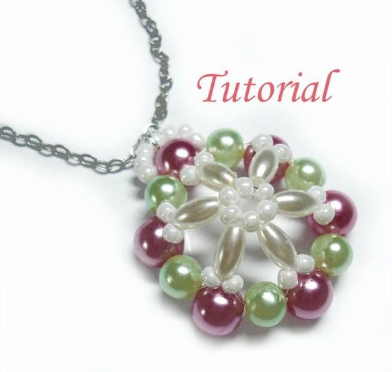 Beading Tutorial - Beaded Snowflake Poinsettia Pendant Christmas Gift Xmas Beaded Ornament Handmade Jewelry for Christmas Snowflake Pendant