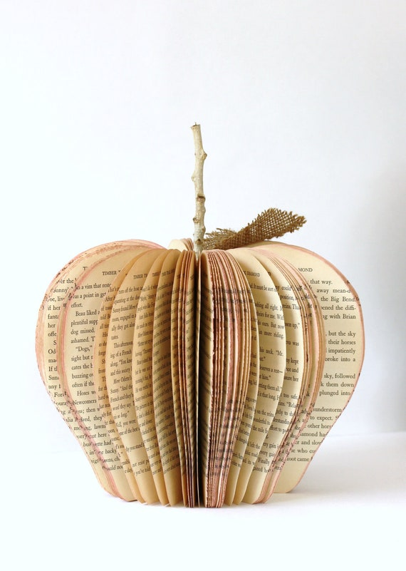 Vintage Book Apple TEACHER GIFT size large