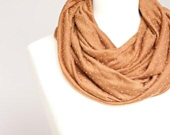 Infinity Scarf Versatile Cowl Loop Caramel Polka Dot modern terracotta minimalist scarf