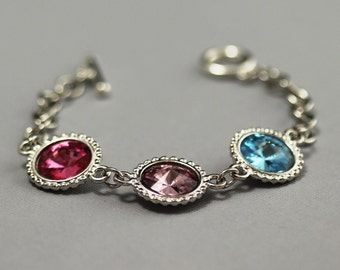 Birthstone Jewelry for Mom, Grandma's Bracelet, Mother's Jewelry, Swarovski Crystal Grandmother's Personalized Bracelet