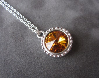 November Birthstone Necklace, Silver Swarovski Crystal Birthstone Jewelry, Topaz Necklace