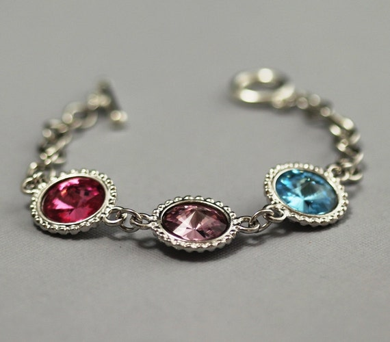 Mothers Charm Bracelet: Birthstone Jewelry For Mom Grandma's Bracelet