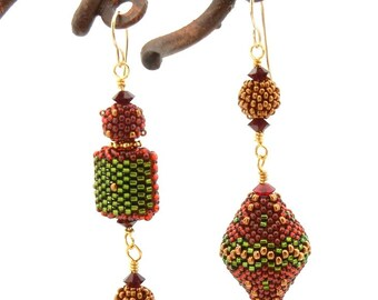 Asymmetrical Earrings - beaded beads - Christmas autumn garnet red green bronze gold