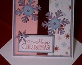 Square Merry Christmas Pink, Blue and Merlot Snowflake Card
