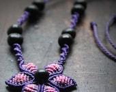 Fiber CHOKER VIOLET FLOWER, adjustable macrame necklace flower with natural seeds