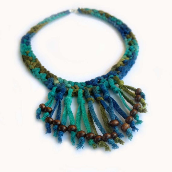 Crochet Fringe Choker With Wood Beads in Aquamarine, Bright Turquoise, Royal Blue and Dark Olive Green, Taupe