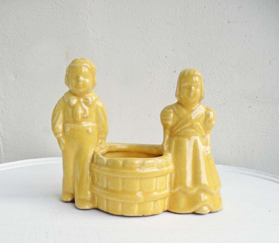 Yellow Vintage Ceramic Planter Small Pot Girl and Boy with Basket Apple Picking Harvest Farm Country Cottage Decor
