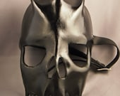 Skull leather mask - black -
