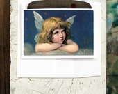 Holiday Angel Card from Old Fashioned Card in Blue, Peaceful Happy Christmas