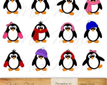 INSTANT DOWNLOAD - Digital Clip Art, Penguin Clipart, Penguin Clip Art, Bird Clipart, Bird Clip Art, Winter Clipart, Winter Clip Artt