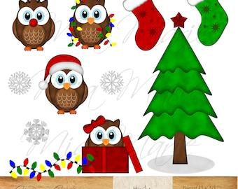 INSTANT DOWNLOAD - Digital Clip Art - Christmas clipart, Christmas clip art, Owl Clipart, Owl Clip Art, Bird Clipart, Bird Clip art