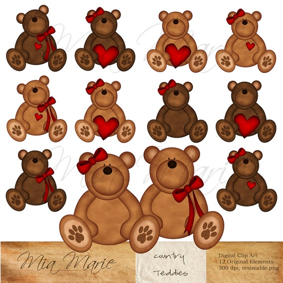 INSTANT DOWNLOAD - Digital Clip Art - Teddy Bear Clip Art, Teddy Bear Clipart, Bear Clip Art, Bear Clipart - Heart, Ribbon, Brown, Red - CU