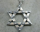 Star of David Pendant in Fine Silver - Hanukkah Necklace - Industrial Jewelry for Him - Jewish Jewellery - Holiday Gift For Her